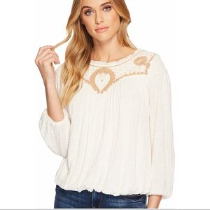Free People Begonia Tee Embroidered Peasant Style